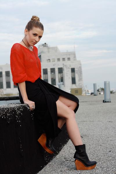 brick red  vintage sweater - black Silence & Noise skirt - black Jeffrey Campbel