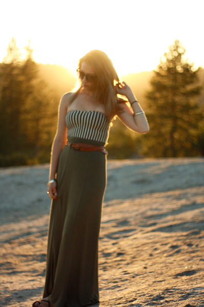 green H&M skirt - white American Apparel top - brown thrift belt - brown volcom