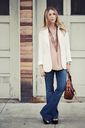 blue love story JBrand jeans - white H&amp;M blazer - brown Marc by Marc Jacobs bag 