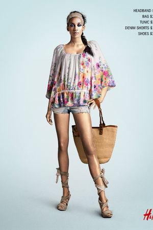 beige H&M shoes - white H&M shirt - brown H&M bag - blue H&M shorts