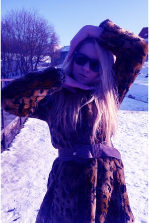 brown Bison coat - brown Danija shoes - silver Bershka jeans - black lindex glas