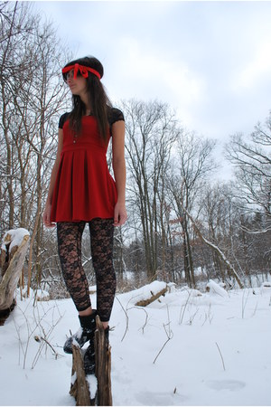 red Forever 21 dress - black Discovery leggings - black Discovery t-shirt