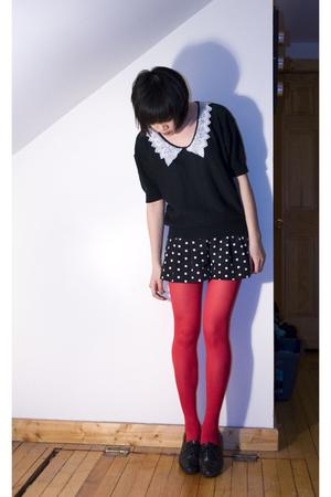 gray vintage sweater - black Forever 21 shorts - red hyaku-en shoppu tights - bl