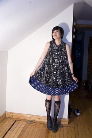 black vintage top - blue vintage skirt - black Target socks - gray vintage shoes
