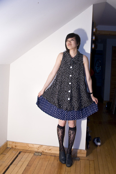 black vintage top - blue vintage skirt - black Target socks - gray vintage shoes