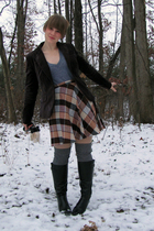 MY&Co blazer - thrifted skirt - kohls boots - American Apparel t-shirt