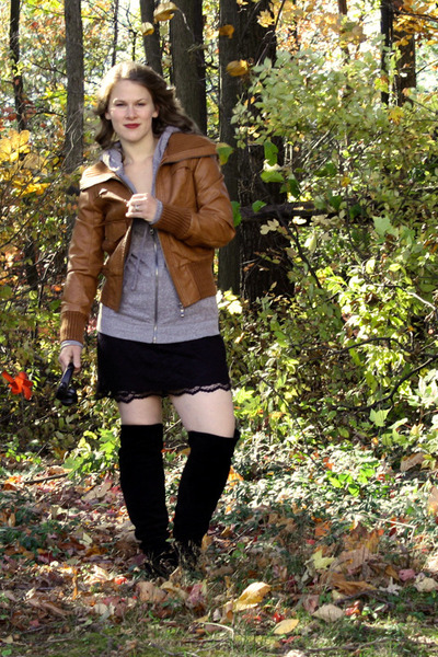 sears jacket - Target cardigan - Target skirt - Macys boots