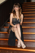 black Forever 21 skirt - dark brown Louis Vuitton purse