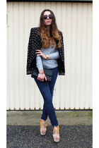 Zara coat - Zara jeans - sunglasses - H&M wedges