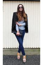 Zara coat - Zara jeans - sunglasses - H&M wedges