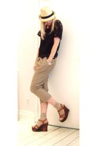 black blouse - beige Dace pants - brown shoes - beige hat - silver accessories