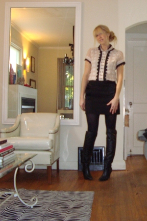 blouse - FCUK skirt - boots
