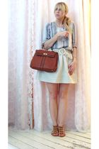brown Pour La Victoire shoes - beige Eryn Brinie skirt - blue Dace shirt - brown