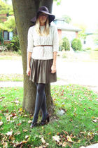 brown Burberry shoes - beige sweater - green cest moi dress - gray HUE stockings