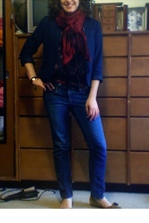 forever 21 blazer - blouse - Old Navy jeans - Enzo Angiolini shoes - Walmart sca
