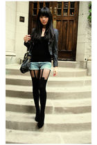 black tights - blue shorts - black top - gray blazer