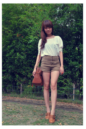 dark brown Mulberry bag - ivory Topshop top - brown Topshop pants