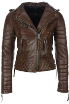 Quilted Biker Leather Jacket (Vintage Brown)