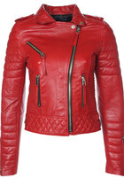 Quilted Biker Leather Jacket (Pop Red)