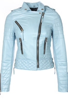 Quilted Biker Leather Jacket (Baby Blue)