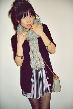 blue Camden Market dress - gray American Eagle scarf - black Pac Sun cardigan -
