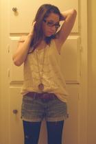 blue Forever 21 shorts - black Target tights - beige Forever 21 shirt - brown th