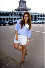 Sky-blue-h-m-shirt-cream-vintage-shorts-gap-shorts-beige-mascotte-pumps