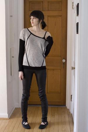 black ballet slippers Sansha shoes - heather gray Lovely 153 sweater