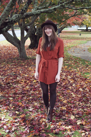 burnt orange modcloth dress - brown Jeffrey Campbell boots - maroon modcloth hat