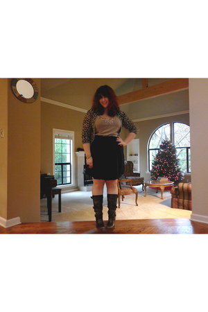 brown Aqua cardigan - dark khaki Anthropologie top - navy Gap skirt - dark brown