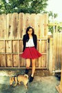 Vintage-shoes-h-m-blazer-ruby-red-forever21-skirt-forever21-top