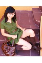 green bubble unknown dress - brown Zara boots - brown Payless bag