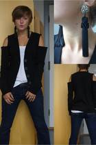 H&M jacket - abercrombie and fitch jeans - H&M top - selfmade accessories