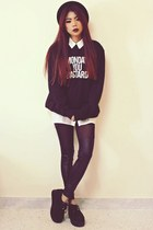 black creepers choiescom shoes - black facebookcom giventhree sweater
