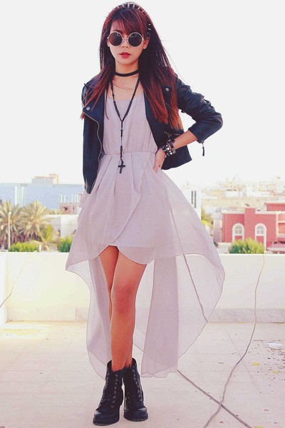 heather gray chiffon Sheinside dress - black leather Sheinside jacket