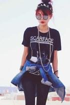 black H&M boots - blue H&M shirt - black round romwe glasses