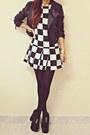 Black-oasapcom-hat-white-plaid-sheinsidecom-dress