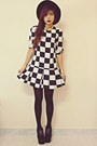 White-plaid-sheinsidecom-dress-black-oasapcom-hat