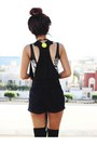 Black-leather-sheinside-jacket-navy-riveted-velvet-romwecom-shorts