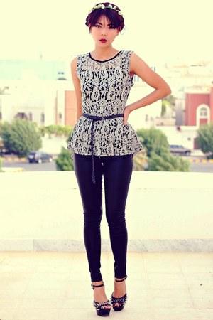 gray Sheinsidecom blouse - black skinny Sheinsidecom pants