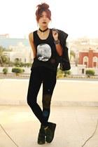 black creepers Choies shoes - black ohhmy youreyeslie vest