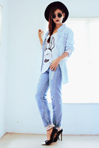 black wide brim Oasapcom hat - sky blue Romwecom jeans - sky blue Romwecom shirt