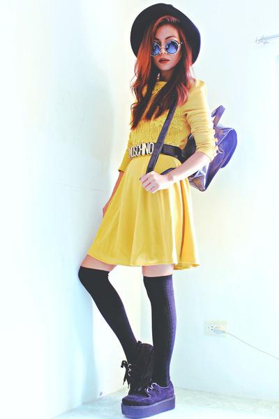 black creepers choiescom shoes - yellow Romwecom dress