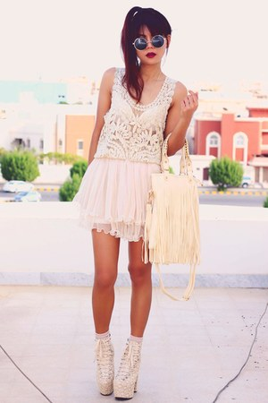 light pink lace Sheinsidecom skirt - cream lace up Sammydresscom boots