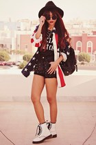 white lace up choiescom boots - navy Theeditorsmarketcom shirt