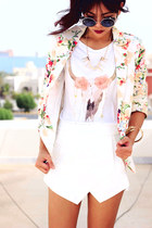 neutral floral Sheinsidecom blazer - cream lace up Sammydresscom boots