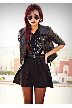 black leather Sheinside jacket - black inlovewithfashion dress