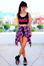 Brick-red-plaid-romwecom-shirt-black-spike-theeditorsmarketcom-shorts