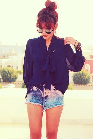 navy bow ClubCouture blouse - blue tie dyed Topshop shorts