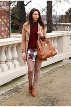 off white DIY skirt - camel VJ-style coat - tawny Michael Kors bag